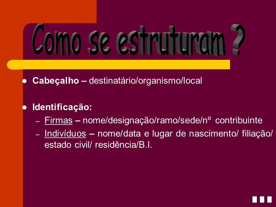 Cabeçalho – destinatário/organismo/local Identificação: – Firmas – nome/designação/ramo/sede/nº contribuinte – Indivíduos – nome/data e lugar de nasci