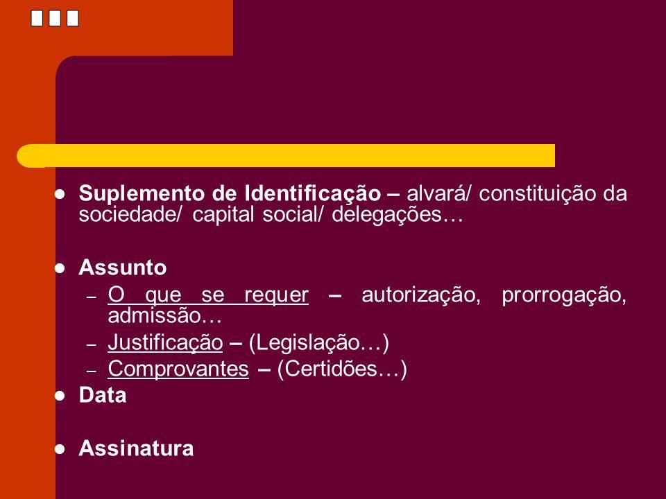 Suplemento de Identificação – alvará/ constituição da sociedade/ capital social/ delegações… Assunto – O que se requer – autorização, prorrogação, adm
