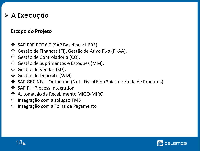 A Execução 18 Escopo do Projeto SAP ERP ECC 6.0 (SAP Baseline v1.605) Gestão de Finanças (FI), Gestão de Ativo Fixo (FI-AA), Gestão de Controladoria (CO), Gestão de Suprimentos e Estoques (MM), Gestão de Vendas (SD).