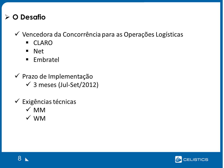 O Desafio 8 Vencedora da Concorrência para as Operações Logísticas CLARO Net Embratel Prazo de Implementação 3 meses (Jul-Set/2012) Exigências técnicas MM WM