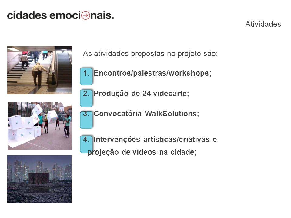 As atividades propostas no projeto são: 1. Encontros/palestras/workshops; 2. Produção de 24 videoarte; 3. Convocatória WalkSolutions; 4. Intervenções