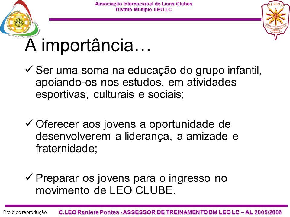 Associação Internacional de Lions Clubes Distrito Múltiplo LEO LC Proibido reprodução C.LEO Raniere Pontes - ASSESSOR DE TREINAMENTO DM LEO LC – AL 2005/2006 Nossa filosofia é bela e correta.