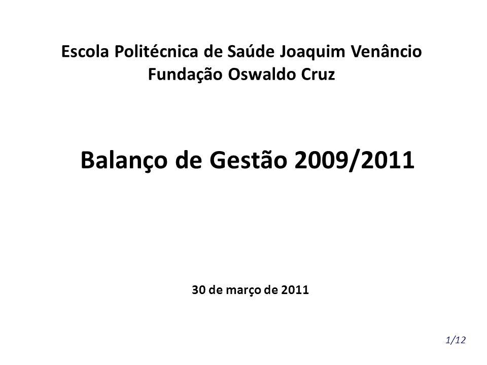 Balanço de Gestão 2009/2011 30 de março de 2011 1/12 Escola Politécnica de Saúde Joaquim Venâncio Fundação Oswaldo Cruz