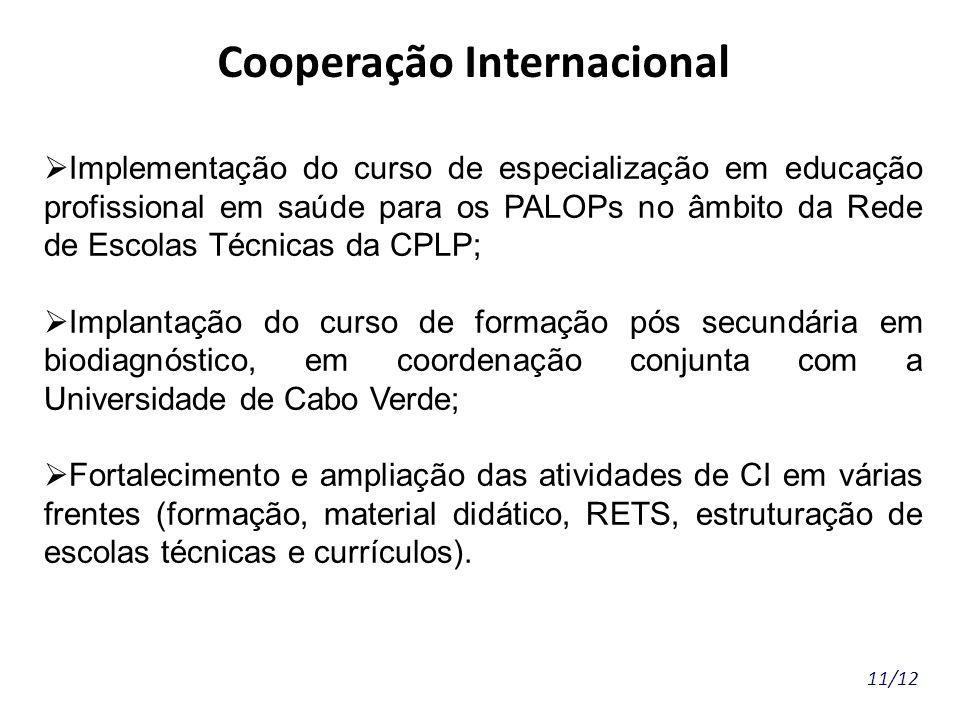 11/12 Cooperação Internacional Implementação do curso de especialização em educação profissional em saúde para os PALOPs no âmbito da Rede de Escolas