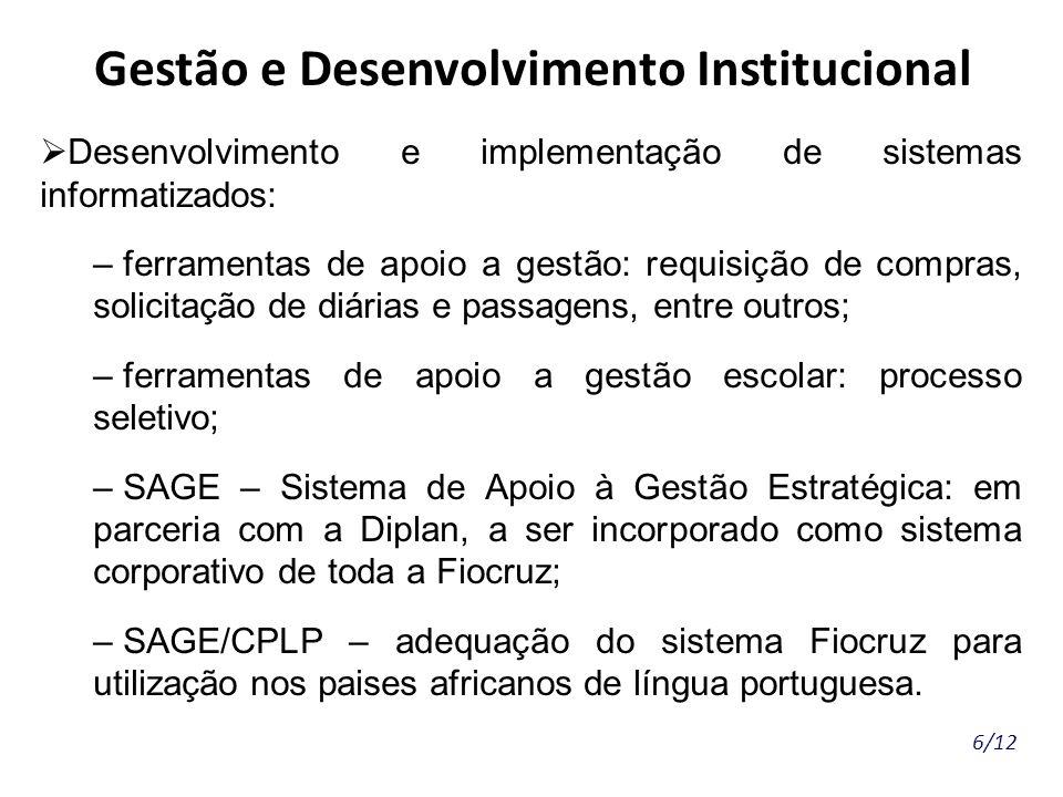6/12 Gestão e Desenvolvimento Institucional Desenvolvimento e implementação de sistemas informatizados: – ferramentas de apoio a gestão: requisição de