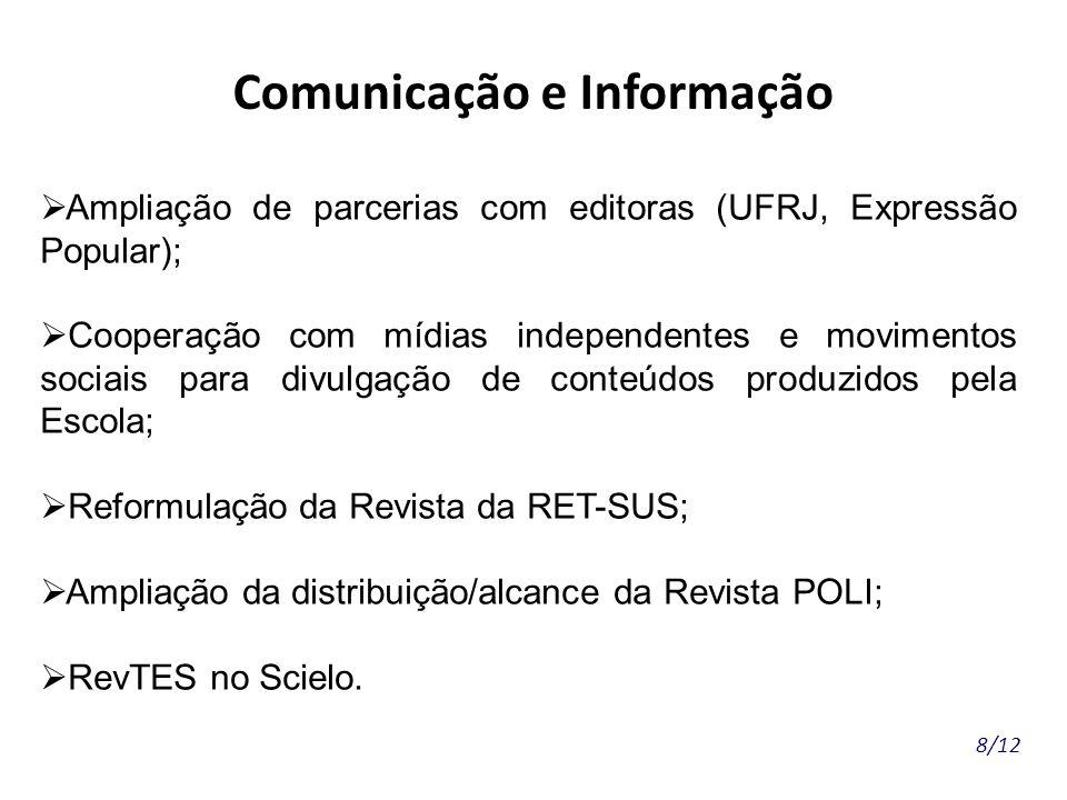 8/12 Comunicação e Informação Ampliação de parcerias com editoras (UFRJ, Expressão Popular); Cooperação com mídias independentes e movimentos sociais