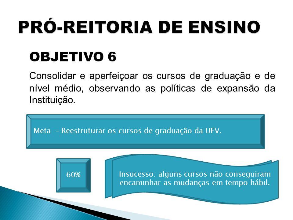 OBJETIVO 6 Consolidar e aperfeiçoar os cursos de graduação e de nível médio, observando as políticas de expansão da Instituição. 60% Meta – Reestrutur