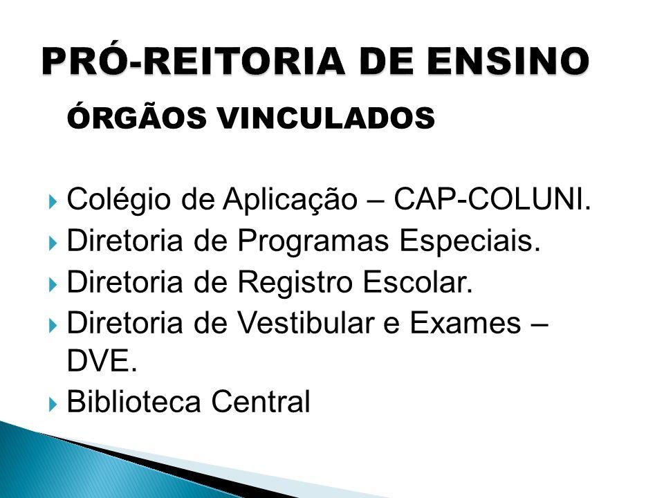 ÓRGÃOS VINCULADOS Colégio de Aplicação – CAP-COLUNI. Diretoria de Programas Especiais. Diretoria de Registro Escolar. Diretoria de Vestibular e Exames