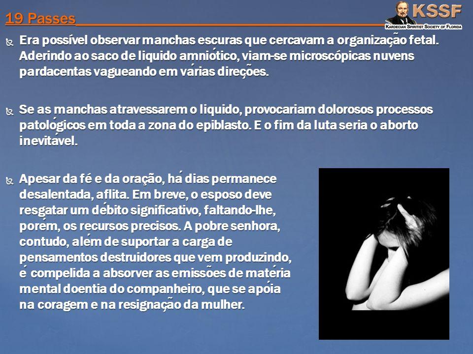 Era possível observar manchas escuras que cercavam a organizac ̧ a ̃ o fetal. Aderindo ao saco de liquido amniotico, viam-se microscópicas nuvens pard