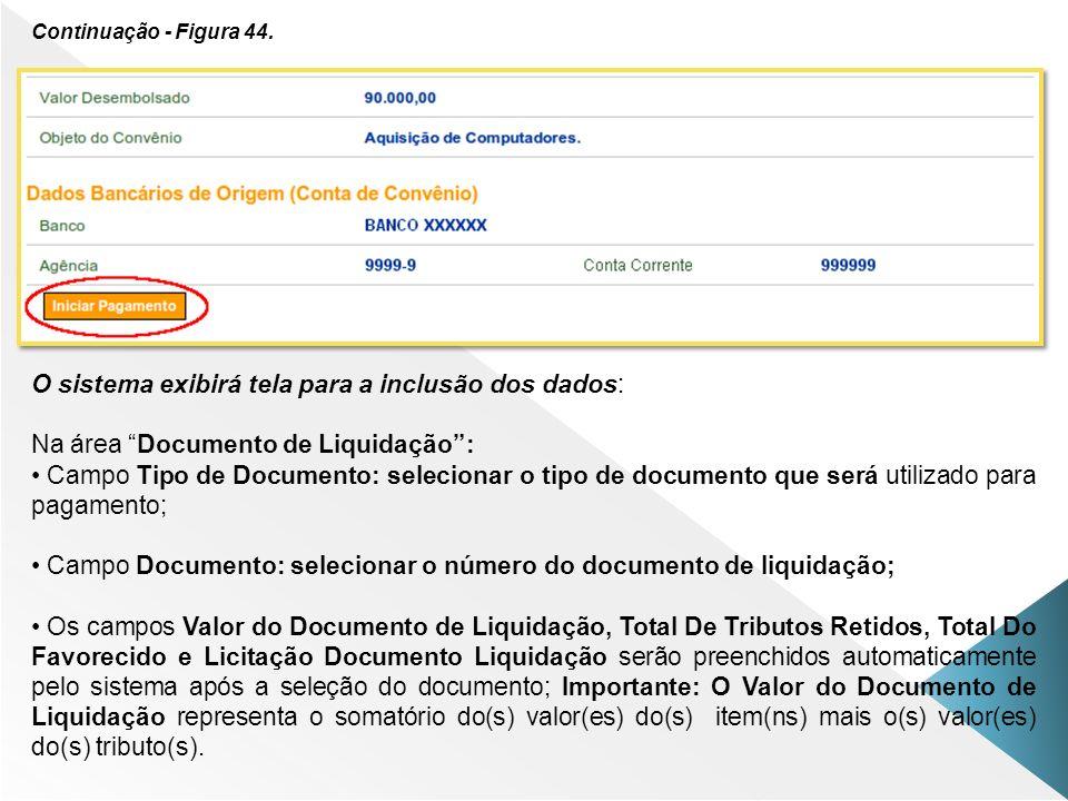 Continuação - Figura 44. O sistema exibirá tela para a inclusão dos dados: Na área Documento de Liquidação: Campo Tipo de Documento: selecionar o tipo