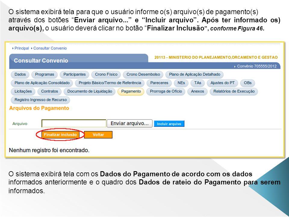 O sistema exibirá tela para que o usuário informe o(s) arquivo(s) de pagamento(s) através dos botões Enviar arquivo... e Incluir arquivo. Após ter inf