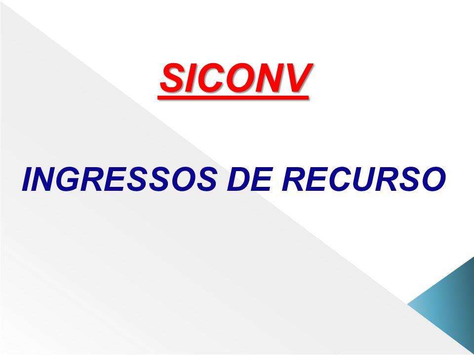 SICONV INGRESSOS DE RECURSO