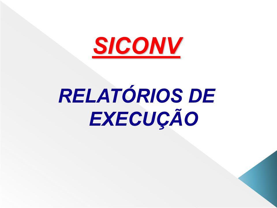 SICONV RELATÓRIOS DE EXECUÇÃO