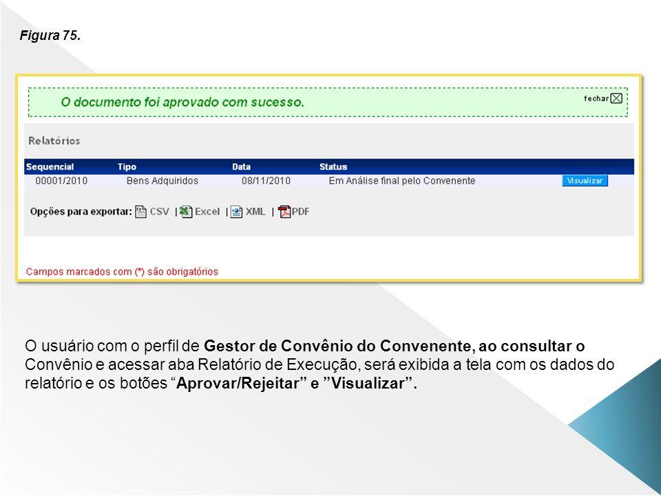 Figura 75. O usuário com o perfil de Gestor de Convênio do Convenente, ao consultar o Convênio e acessar aba Relatório de Execução, será exibida a tel