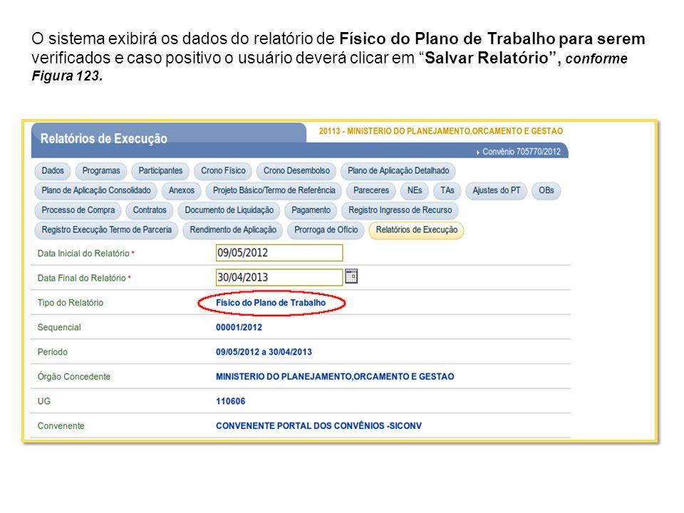 O sistema exibirá os dados do relatório de Físico do Plano de Trabalho para serem verificados e caso positivo o usuário deverá clicar em Salvar Relató