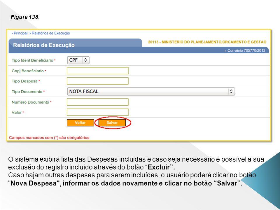 Figura 138. O sistema exibirá lista das Despesas incluídas e caso seja necessário é possível a sua exclusão do registro incluído através do botão Excl
