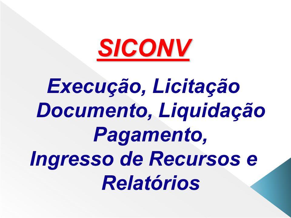 SICONV Execução, Licitação Documento, Liquidação Pagamento, Ingresso de Recursos e Relatórios