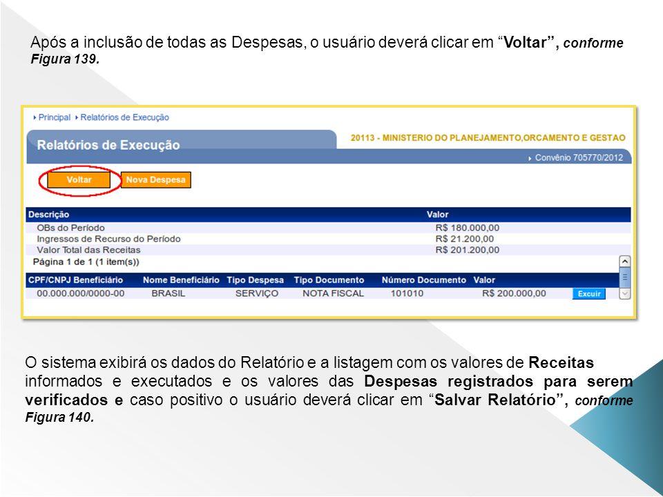 Após a inclusão de todas as Despesas, o usuário deverá clicar em Voltar, conforme Figura 139. O sistema exibirá os dados do Relatório e a listagem com