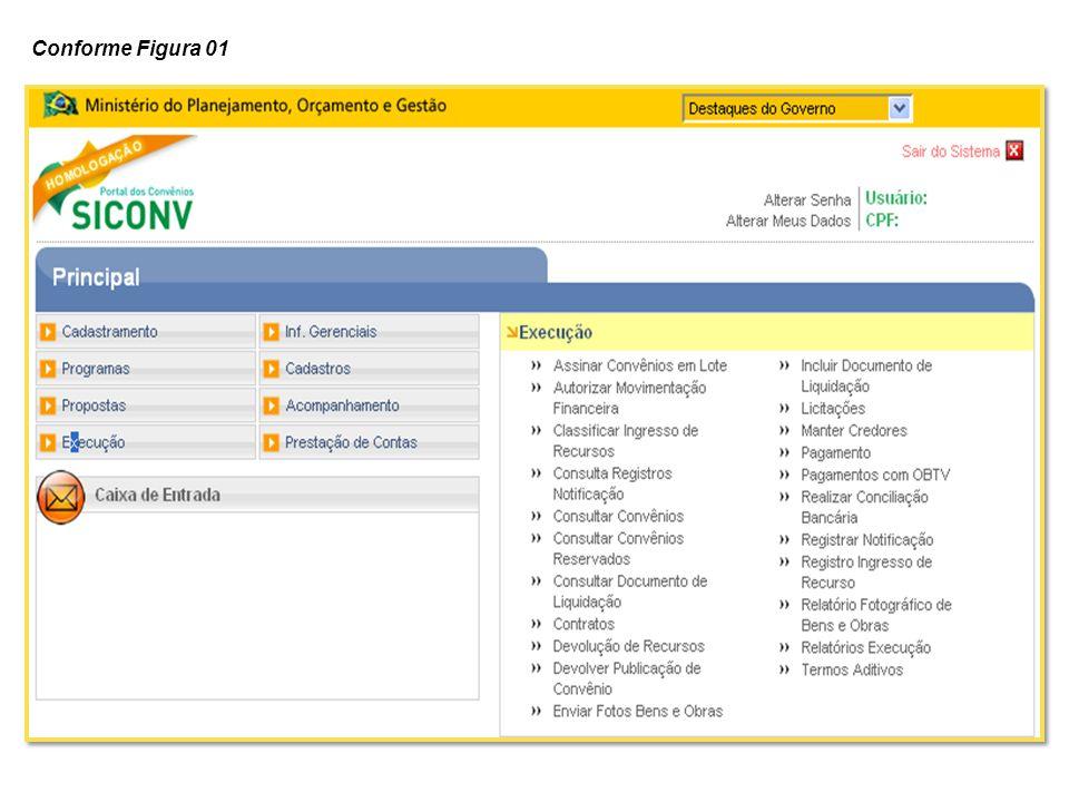 O sistema exibirá o Tipo de Relatório para a seleção do usuário Convenente.