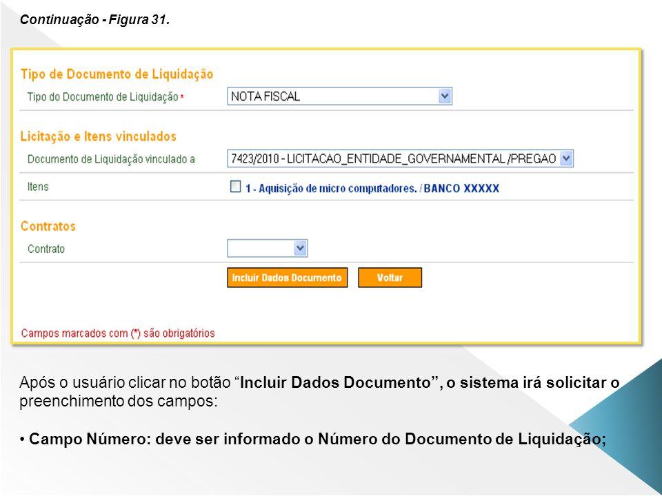 Continuação - Figura 31. Após o usuário clicar no botão Incluir Dados Documento, o sistema irá solicitar o preenchimento dos campos: Campo Número: dev
