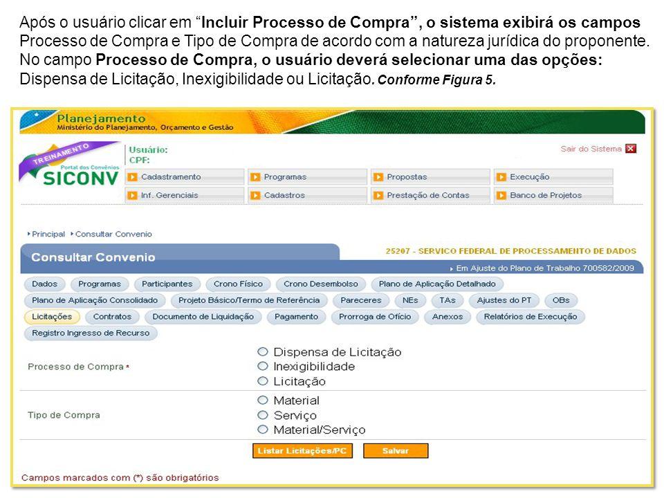 O sistema exibe a mesma tela com os dados do convênio e no final da tela os dados do relatório que foi gerado.