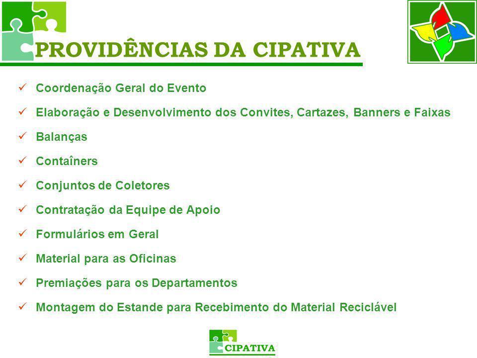 Coordenação Geral do Evento Elaboração e Desenvolvimento dos Convites, Cartazes, Banners e Faixas Balanças Contaîners Conjuntos de Coletores Contrataç