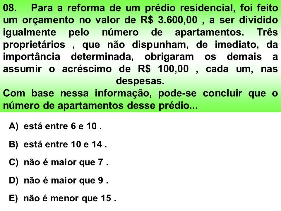 08.Para a reforma de um prédio residencial, foi feito um orçamento no valor de R$ 3.600,00, a ser dividido igualmente pelo número de apartamentos.