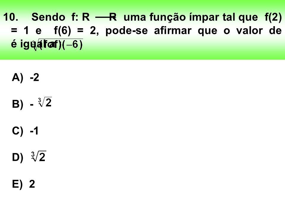 10.Sendo f: R R uma função ímpar tal que f(2) = 1 e f(6) = 2, pode-se afirmar que o valor de é igual a : A) -2 B) - C) -1 D) E) 2