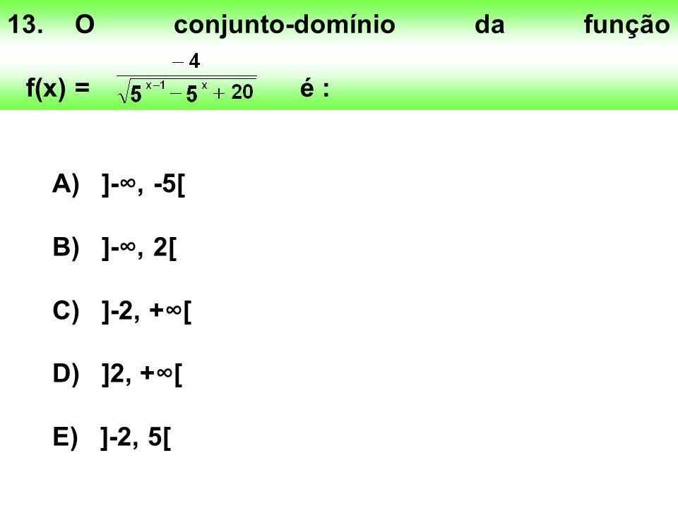 13.O conjunto-domínio da função f(x) = é : A) ]-, -5[ B) ]-, 2[ C) ]-2, +[ D) ]2, +[ E) ]-2, 5[