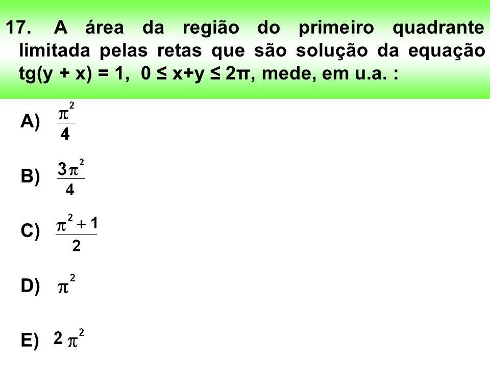 17.A área da região do primeiro quadrante limitada pelas retas que são solução da equação tg(y + x) = 1, 0 x+y 2π, mede, em u.a.