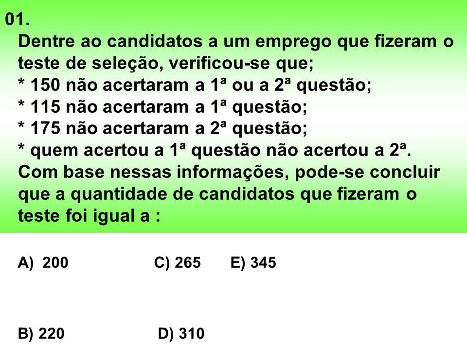 01. Dentre ao candidatos a um emprego que fizeram o teste de seleção, verificou-se que; * 150 não acertaram a 1ª ou a 2ª questão; * 115 não acertaram