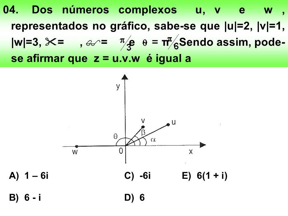 04.Dos números complexos u, v e w, representados no gráfico, sabe-se que |u|=2, |v|=1, |w|=3, =, = e = π.