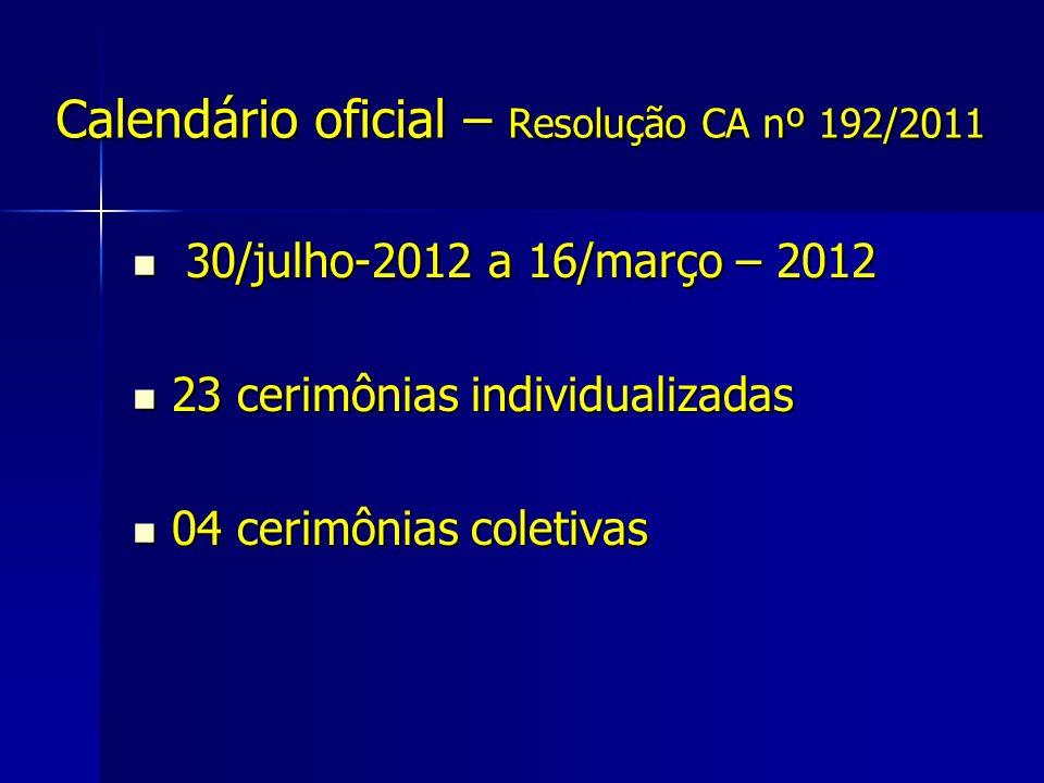 Calendário oficial – Resolução CA nº 192/2011 30/julho-2012 a 16/março – 2012 30/julho-2012 a 16/março – 2012 23 cerimônias individualizadas 23 cerimô