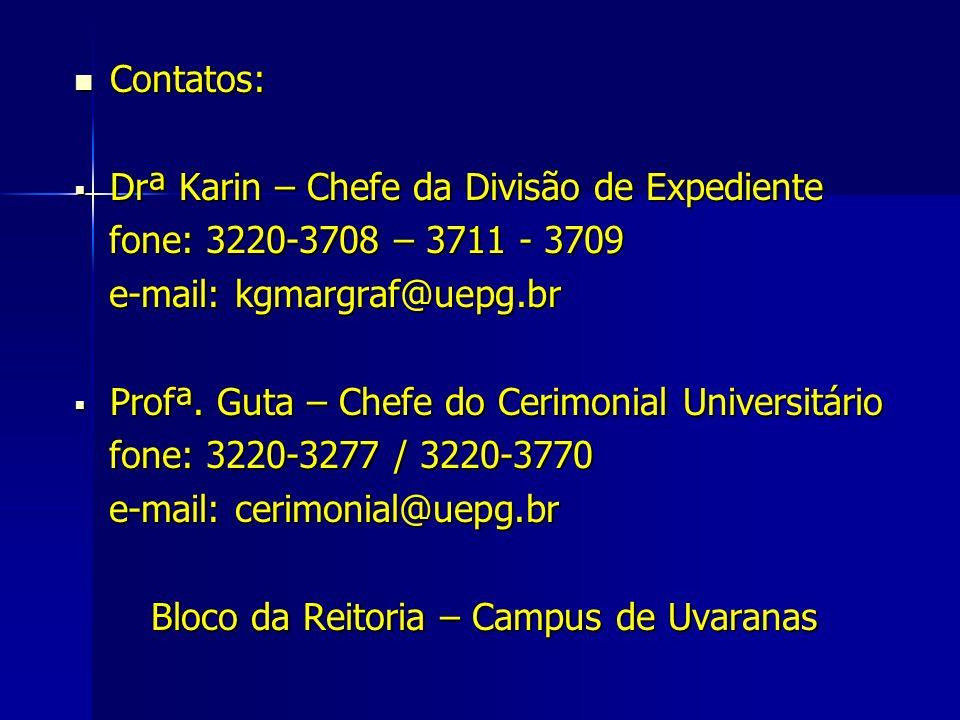 Contatos: Contatos: Drª Karin – Chefe da Divisão de Expediente Drª Karin – Chefe da Divisão de Expediente fone: 3220-3708 – 3711 - 3709 fone: 3220-370