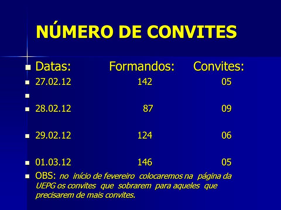 NÚMERO DE CONVITES Datas: Formandos:Convites: Datas: Formandos:Convites: 27.02.1214205 27.02.1214205 28.02.12 8709 28.02.12 8709 29.02.1212406 29.02.1