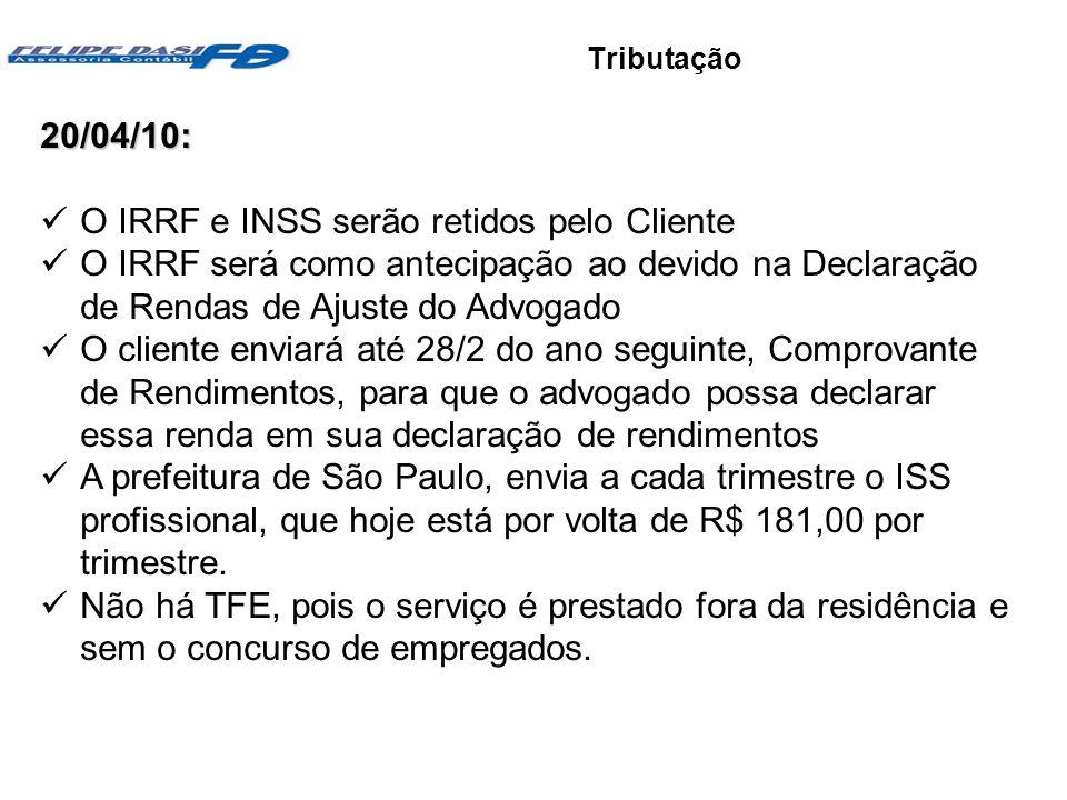 Objetivos e vantagens Tributação20/04/10: O IRRF e INSS serão retidos pelo Cliente O IRRF será como antecipação ao devido na Declaração de Rendas de A