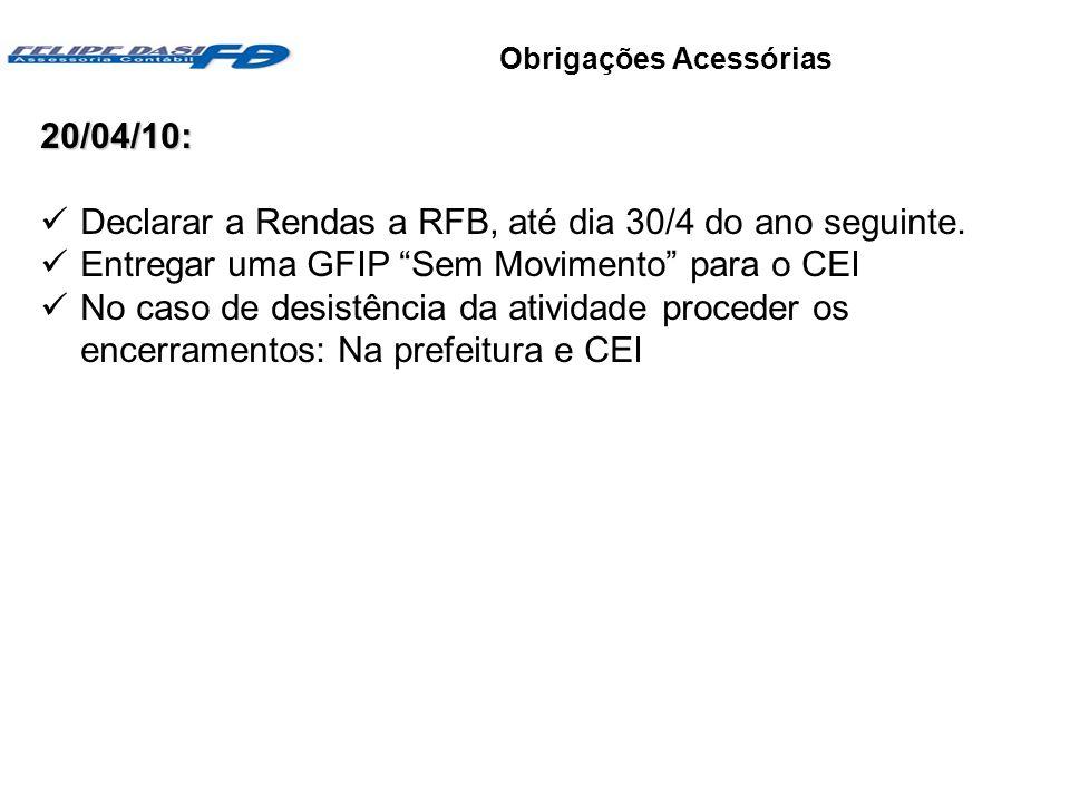 Objetivos e vantagens Obrigações Acessórias20/04/10: Declarar a Rendas a RFB, até dia 30/4 do ano seguinte. Entregar uma GFIP Sem Movimento para o CEI