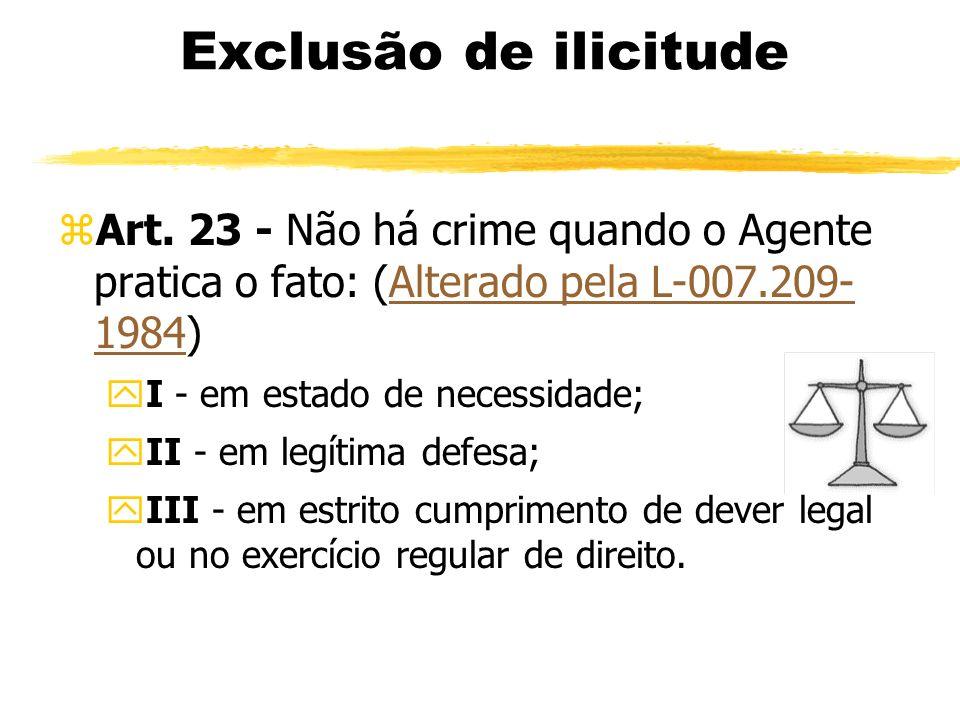 Exclusão de ilicitude zArt. 23 - Não há crime quando o Agente pratica o fato: (Alterado pela L-007.209- 1984)Alterado pela L-007.209- 1984 yI - em est