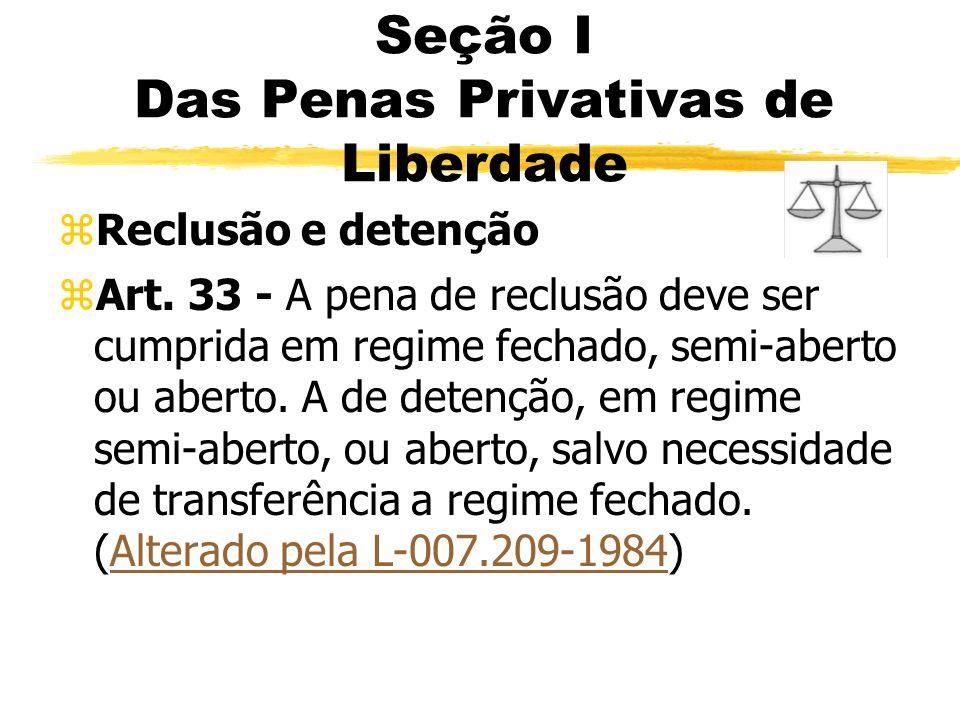 Seção I Das Penas Privativas de Liberdade zReclusão e detenção zArt. 33 - A pena de reclusão deve ser cumprida em regime fechado, semi-aberto ou abert