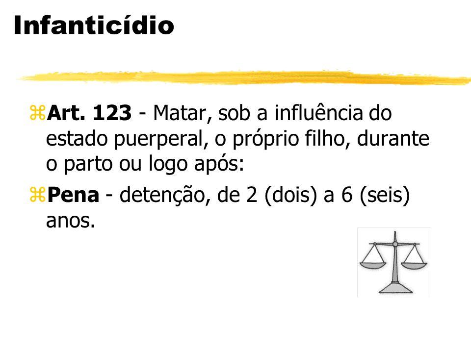 Infanticídio zArt. 123 - Matar, sob a influência do estado puerperal, o próprio filho, durante o parto ou logo após: zPena - detenção, de 2 (dois) a 6