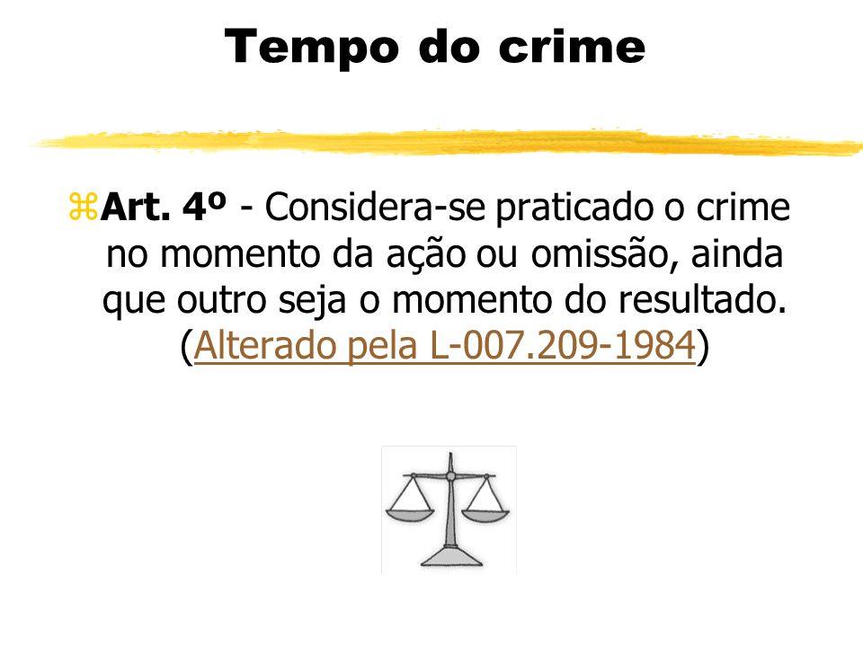 Tempo do crime zArt. 4º - Considera-se praticado o crime no momento da ação ou omissão, ainda que outro seja o momento do resultado. (Alterado pela L-