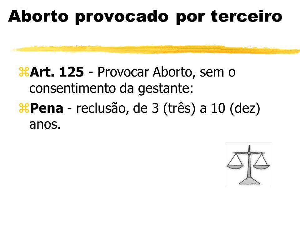 Aborto provocado por terceiro zArt. 125 - Provocar Aborto, sem o consentimento da gestante: zPena - reclusão, de 3 (três) a 10 (dez) anos.