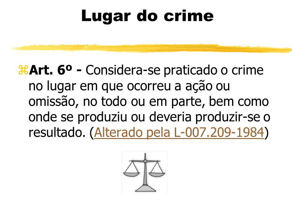 Lugar do crime zArt. 6º - Considera-se praticado o crime no lugar em que ocorreu a ação ou omissão, no todo ou em parte, bem como onde se produziu ou