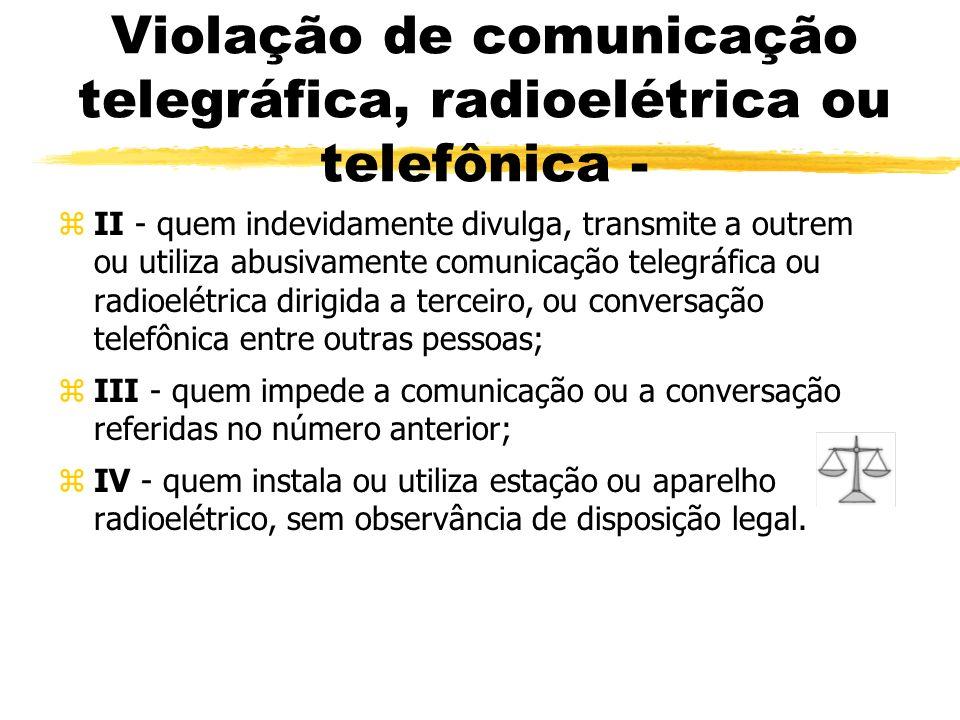 Violação de comunicação telegráfica, radioelétrica ou telefônica - zII - quem indevidamente divulga, transmite a outrem ou utiliza abusivamente comuni
