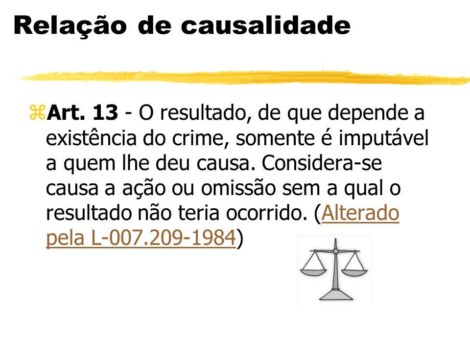 Relação de causalidade zArt. 13 - O resultado, de que depende a existência do crime, somente é imputável a quem lhe deu causa. Considera-se causa a aç
