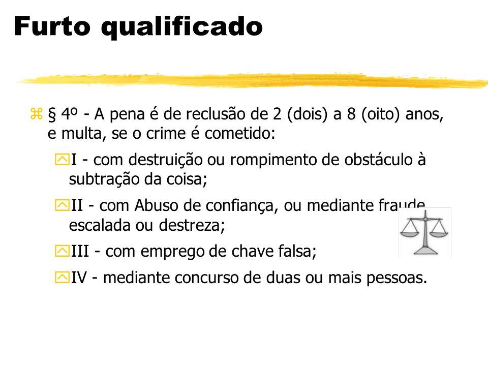 Furto qualificado z§ 4º - A pena é de reclusão de 2 (dois) a 8 (oito) anos, e multa, se o crime é cometido: yI - com destruição ou rompimento de obstá