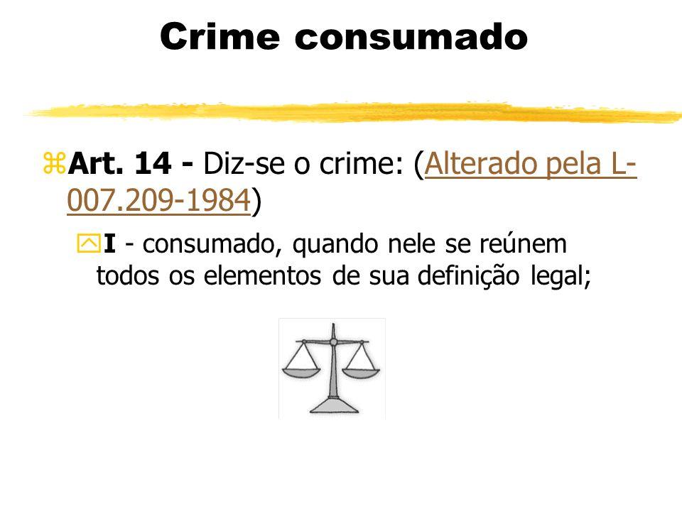Crime consumado zArt. 14 - Diz-se o crime: (Alterado pela L- 007.209-1984)Alterado pela L- 007.209-1984 yI - consumado, quando nele se reúnem todos os