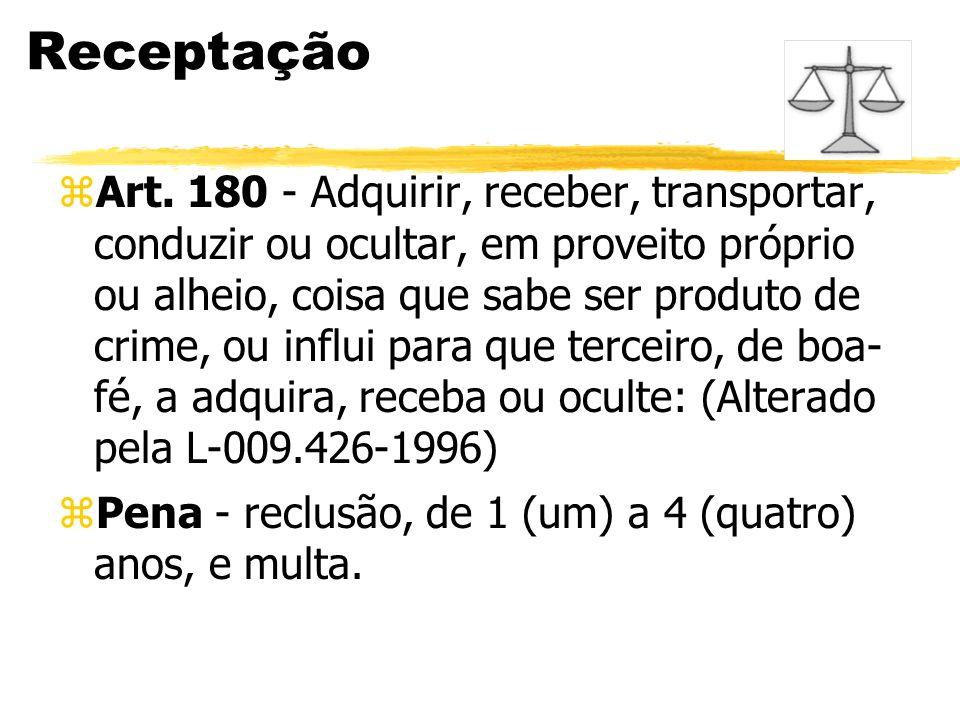 Receptação zArt. 180 - Adquirir, receber, transportar, conduzir ou ocultar, em proveito próprio ou alheio, coisa que sabe ser produto de crime, ou inf
