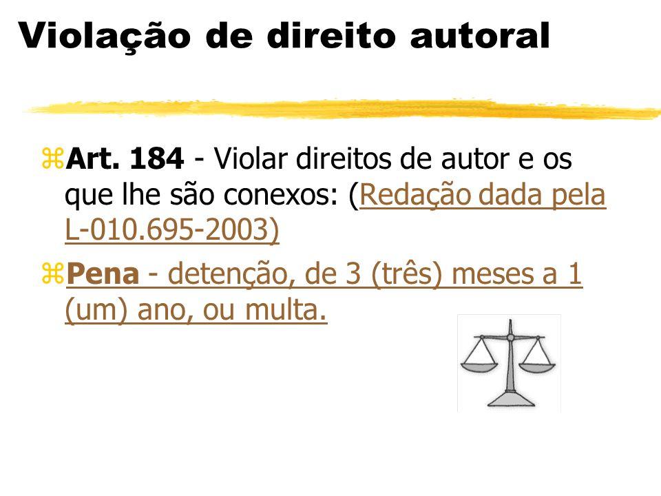 Violação de direito autoral zArt. 184 - Violar direitos de autor e os que lhe são conexos: (Redação dada pela L-010.695-2003)Redação dada pela L-010.6