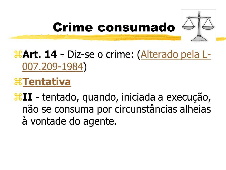 Crime consumado zArt. 14 - Diz-se o crime: (Alterado pela L- 007.209-1984)Alterado pela L- 007.209-1984 zTentativaTentativa zII - tentado, quando, ini